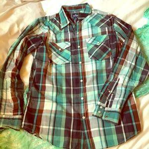 NWOT Long sleeve button down plaid shirt